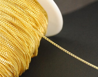 16Ft Gold Plated Chains, Chunky Curb Chains, 1mm Curb Chains, Brass Chains.