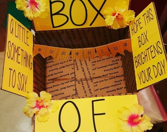 Box of Sunshine, yellow and bright, carepackage, deployment, care package flaps, hello sunshine