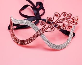 Luxury Crystal Eye Mask  - Crystals Rhinestones Bridal Mask - Royal Masquerade Wedding Twinkle Red and Clear
