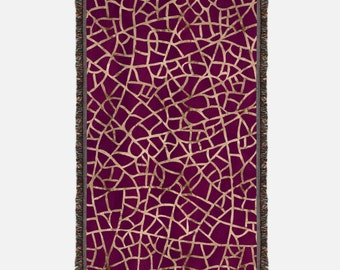 Maroon and Gold Woven Blanket, Woven Throw with maroon and gold cracks