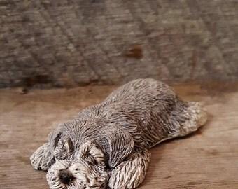 Sandicast Lil Snoozers Dog Figurine Schnauzer Frogger by Sanda Brue 1988