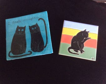 Vintage Cat Tiles, 2 ,Bright Colors, One Signed