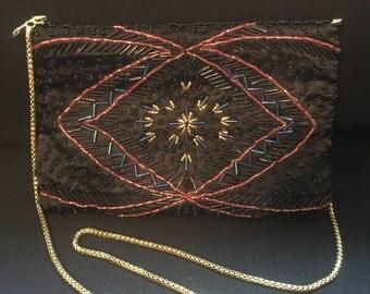 Black vintage beaded Art Deco evening bag