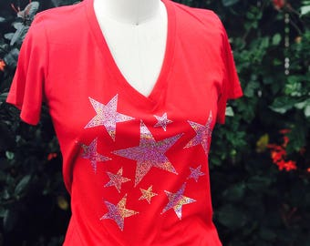 Star Spangled Tee, 4th of July Tee, Bling 4th of July Tee