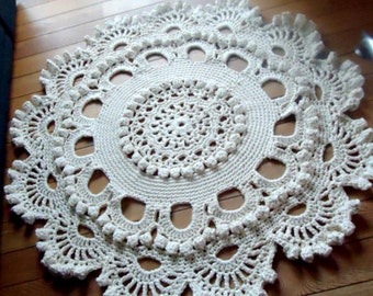 Crochet rug, crochet carpet ,doily lace rug, knitted carpet, knitted rug 50 inc