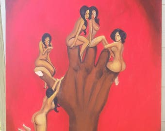 Options 24x30 Love Hand Women Atlanta Red Original Acrylic Oil Painting black
