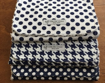 Navy and White Burp Cloths, Burp Rag, Baby Gift, Baby Shower, Contoured Neck, Modern Baby, Polka Dot, Houndstooth, Little Me Unique
