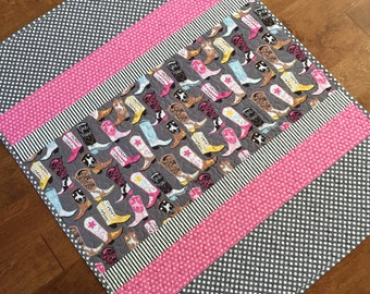 Cowgirl  Quilt, Cowboy Boots, Western Baby Quilt, Nursery, Baby Blanket, Baby Girl Quilt, Pink, Gray Grey and White Polka Dots