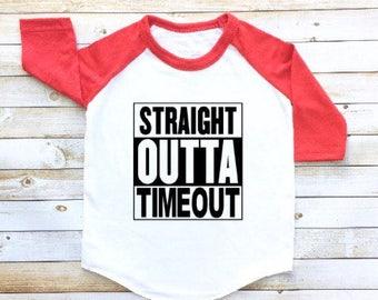 Straight outta timeout shirt, funny shirt, boy/girl, toddler baseball tee, toddler raglan