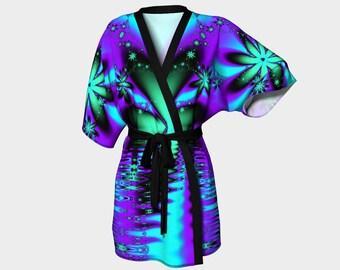 Kimono Robe - chiffon robe - luxury robes, bridal robe, bathrobe, kimono, robe, dressing gown, purple, green, blue