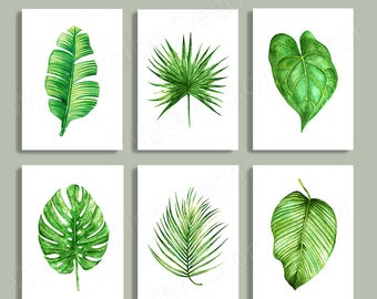 Tropical Leaf Watercolor Art Prints - Set of 6 Green Leaves Prints- Palm Leaf Botanical Art Wall Decor Office Decor Birthday Gift