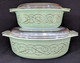 Vintage Pyrex Casserole Dish Set of 2 Sage Scroll #043 and #045 Green Scroll Gold Accent Dishes Complete with Lids