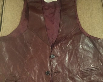 Genuine leather brown  vest xl
