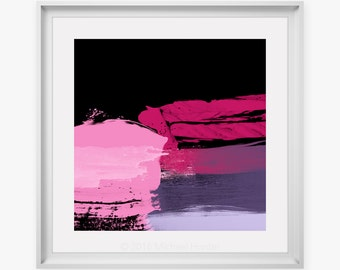 Pink & Violet Modern Art - Abstract Digital Print For Modern Home Decor, Contemporary Art Prints, Expressive Art, Michael Hunter BA Hons