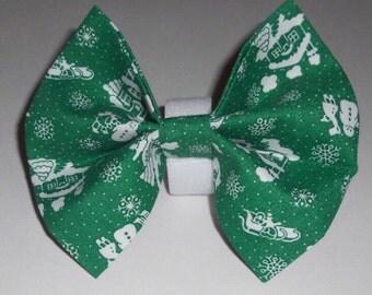Christmas Dog Bow Tie, Holdiay Dog Bow Tie, Green Dog Bow Tie, Pet Dog Bow Tie