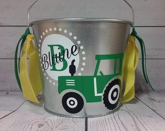 Personalized Bucket-5 Quart / Gift Basket / Easter Bucket / Beverage Pail /Tractor