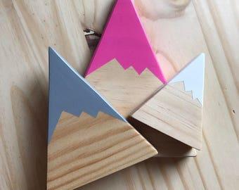 Snow Capped Mountain Set/Magenta, Gray and White/Ready to ship