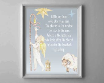 Baby Boy Nursery Rhyme, Nursery printable, Little Boy Blue, Nursery Wall Art, Children decor, boy bedroom decor, Lullaby printable