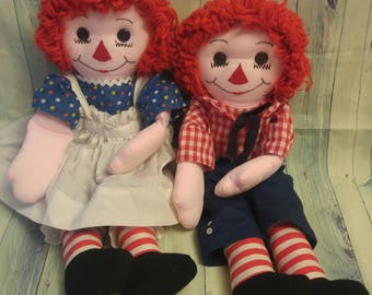 Vintage Raggedy Ann and Andy dolls