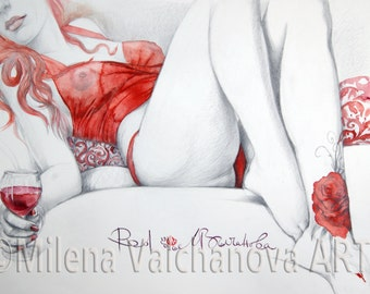 Red-Nude Pencil Drawing PRINT, Sensual Nude Art, Fine Art Nude, Contemporary Nude-Naked Woman