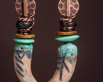 Tribal faux bone clay earrings with Greek ceramic beads and copper patina