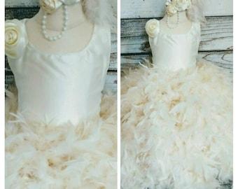 satin flower girl dress,feather flower girl dress,flower girl dresses,flower girl tutu dress,ivory satin flower girl dress