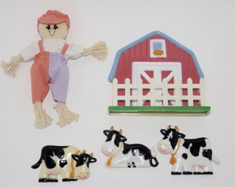 Barnyard plastic vintage refrigerator magnets,farm animal magnets,kitchen magnets,scarecrow,barn,cows,kitchen decor,farmhouse kitchen decor