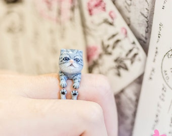 "Lovely Cute Hand Painting Enamel Cat Ring (""Dear Cat Project"")"