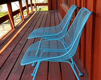 2 Russell Woodard Sculptura Mid Century Wire Mesh Patio Chairs