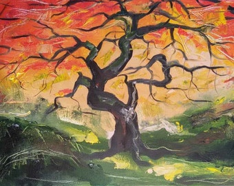 Original oil painting Landscape painting  Tree Abstract painting Colorful Art Ideas gift