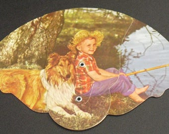 Collectible Advertising Tri Fold Fan, Federal Savings & Loan Association, Vintage Hand Fan, Springfield, Ohio, Memento, Boy Fishing With Dog