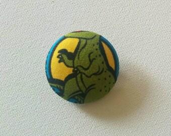 trex tyrannosaurus dino dinosaur fabric covered button badge brooch