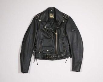 IXS - Black leather biker jacket