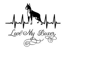 EKG Heartbeat Love My Boxer Decal - Car Decal, Windows, WIndshields, Laptops, Doors,  etc.
