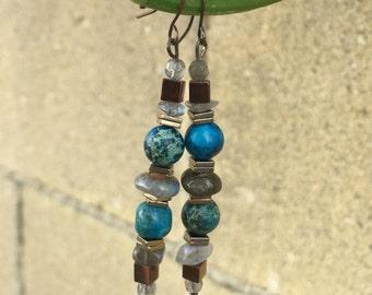 Rain blu droplets, dangle earrings,