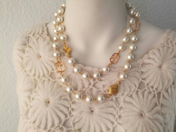 Vintage large glass pearl chain necklace with two beautiful designer connectors