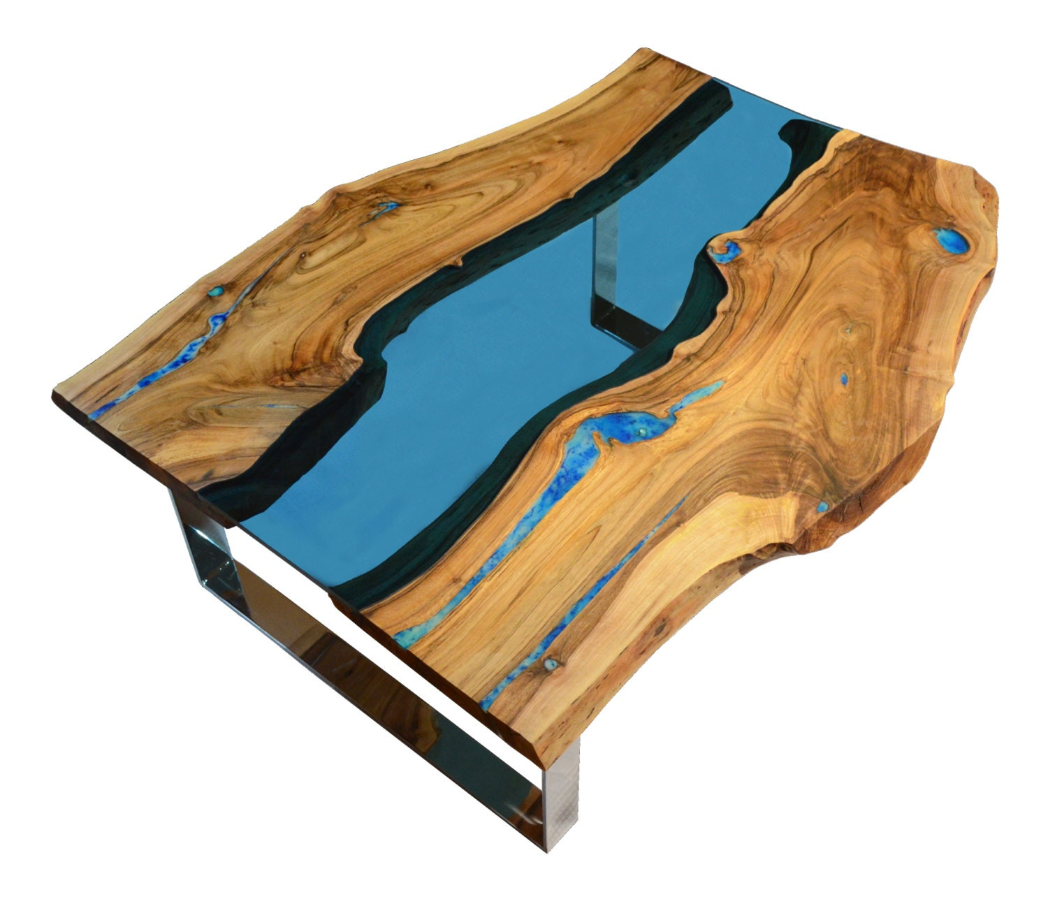 Live Edge River Coffee Table With Glowing Resin Fillin And