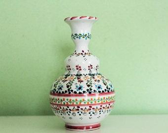 Vintage Handmade Ceramic Puente Del Arzobispo Vase Signed TOLEDO Spain Pottery Majolica Vase