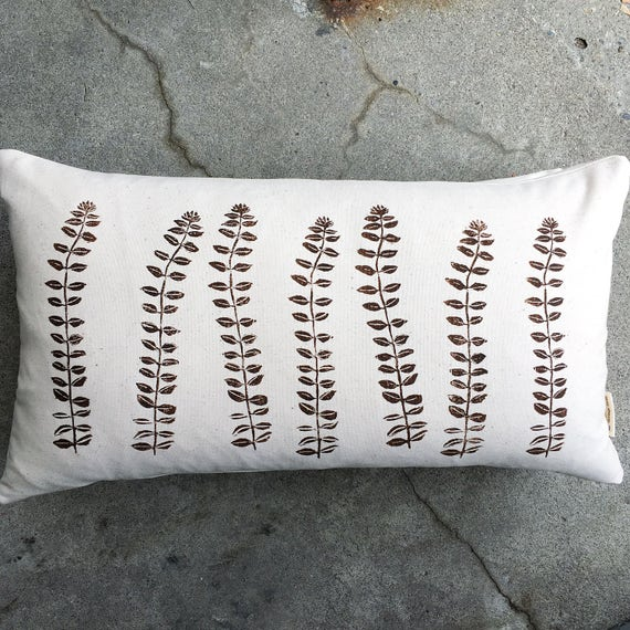 Organic canvas 14 by 24 inch pillow cover with perennial stems in dark brown, accent pillow, minimalist, cottage decor