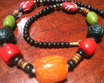 Colourful Resin and Wood Bead Necklace