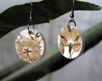 Floral Decoupage Earrings, Decoupage Jewelry Wood earrings gift wood Handmade Rustic Custom boho girlfriend gift mothers day gift