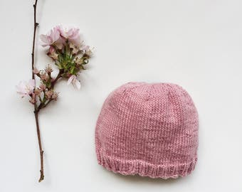 Infant Beanie Knit, Newborn Baby Girl Hat, Hospital Hat, Pink Baby Hat, Newborn Coming Home Outfit, Photo Prop, Organic Cotton Baby Beanie
