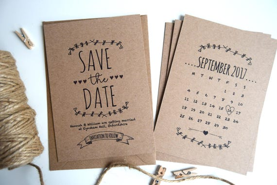 Rustic Kraft Wedding Save The Date Card Sample