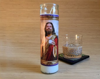 Big Lebowski Dude Celebrity Prayer Candle - Movie Decor - Humor - Parody Art - 7 Day Candle