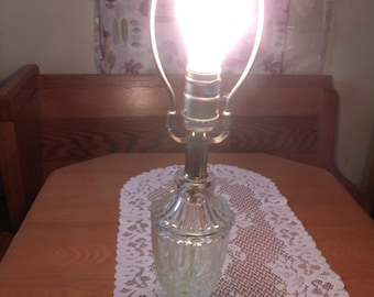 Vintage Glass Cut Lamp/ no shade/ Metal Frame/ works, (# 965/60)