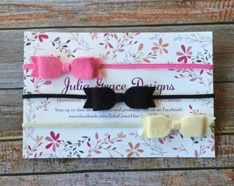 Felt Bow Headband Set.Newborn Headbands.Headband.Bow Headband.Baby Headband.Newborn Headbands.Baby Shower Gift.Felt Bows.Gift Set.Hair Bows