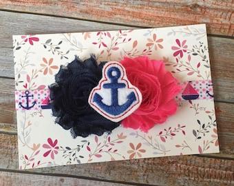 Nautical Headband/Nautical Baby/Baby Headband/Newborn Headband/Baby Girl Headband/Navy Blue Headband/Shabby Chic Headband/Infant Headband