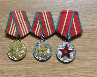 3 Vintage Soviet military medals USSR Armed Forces for 10, 15 & 20 years Irreproachable Service