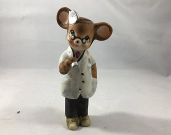 Adorable Vintage Mouse Doctor Figurine