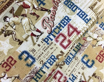 Tan American Pastime Cotton Fabric from the Play Ball Collection by Benartex, Baseball fabric
